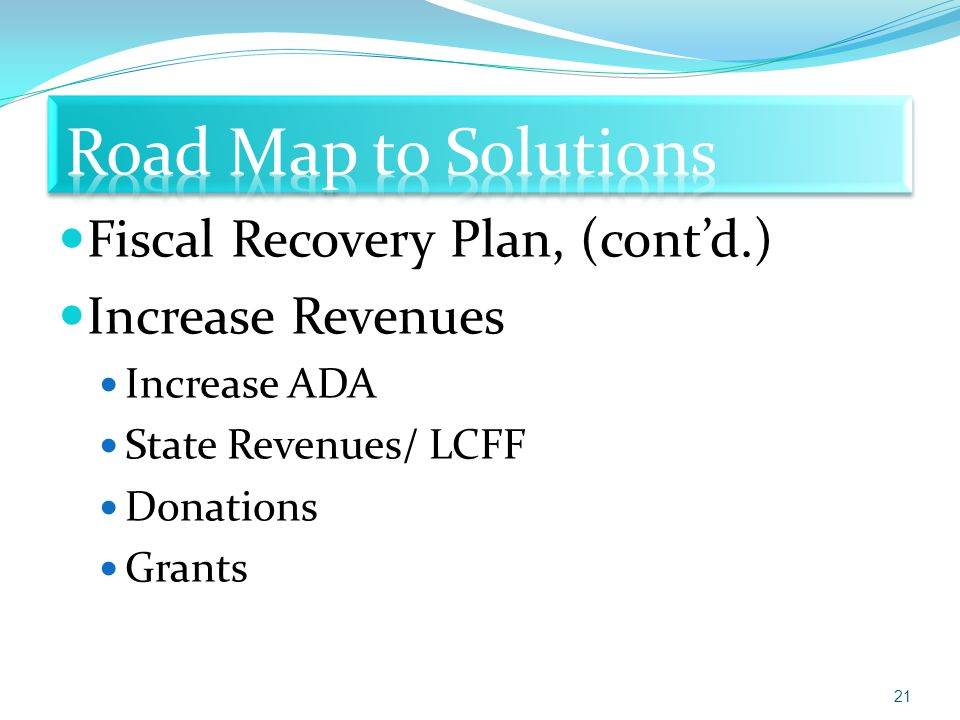 Fiscal Recovery Plan, (cont'd.) Increase Revenues Increase ADA State Revenues/ LCFF Donations Grants 21