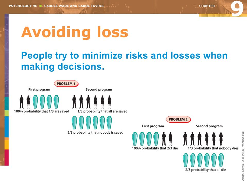 Avoiding loss People try to minimize risks and losses when making decisions. 9