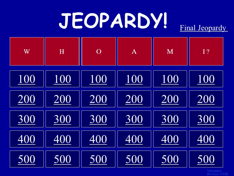 Template by Bill Arcuri, WCSD JEOPARDY! 100 200 300 400 500 Category 1 2 3 4 5 6