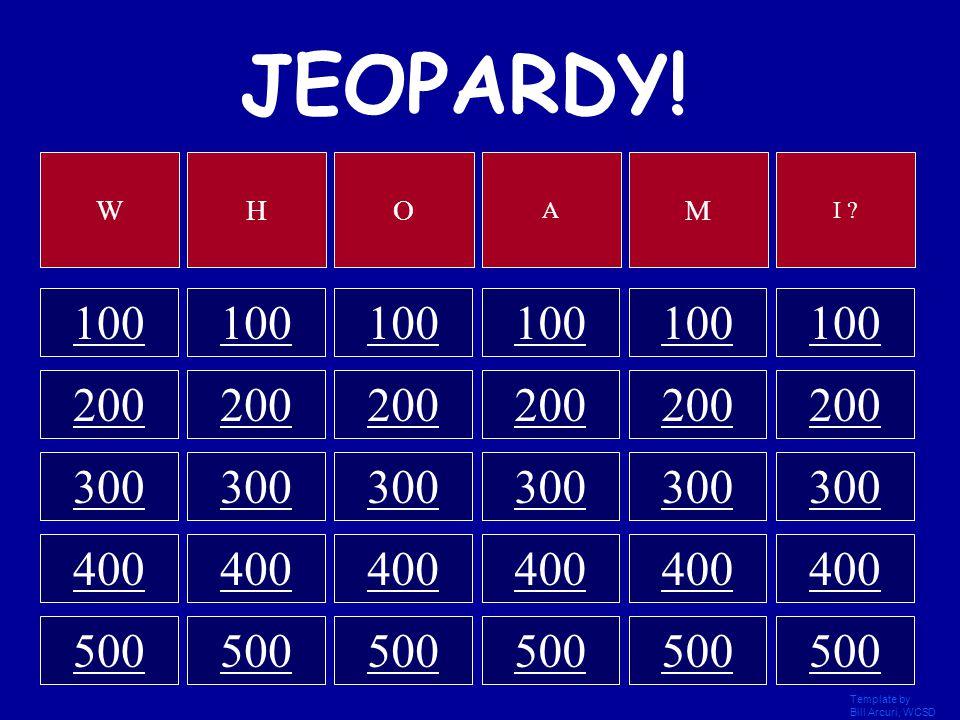 Template by Bill Arcuri, WCSD JEOPARDY! 100 200 300 400 500 WHO A M I ?