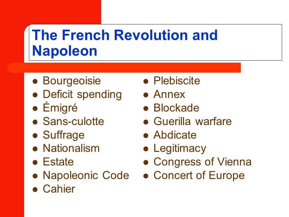 The French Revolution and Napoleon Bourgeoisie Deficit spending Émigré Sans-culotte Suffrage Nationalism Estate Napoleonic Code Cahier Plebiscite Anne