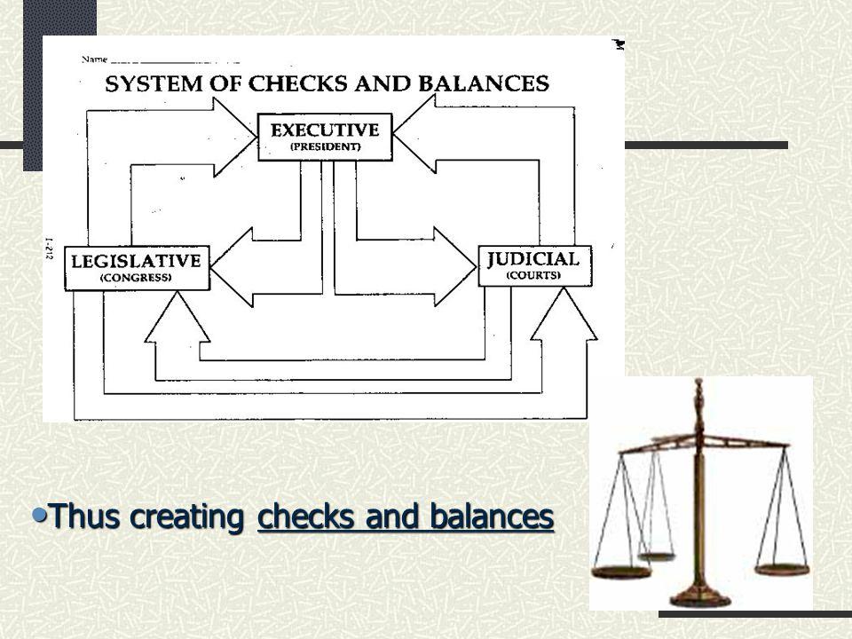 Thus creating checks and balances Thus creating checks and balances