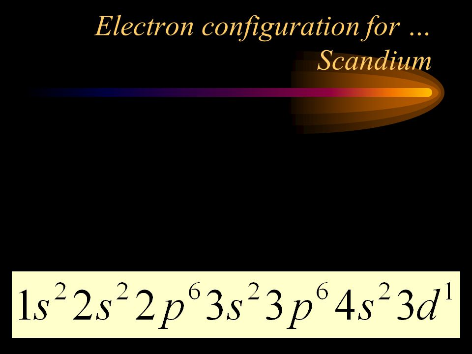 Electron configuration for … Scandium Look up the number of electrons (same as the number of protons). Use the diagonal rule. Scandium is #21. That me