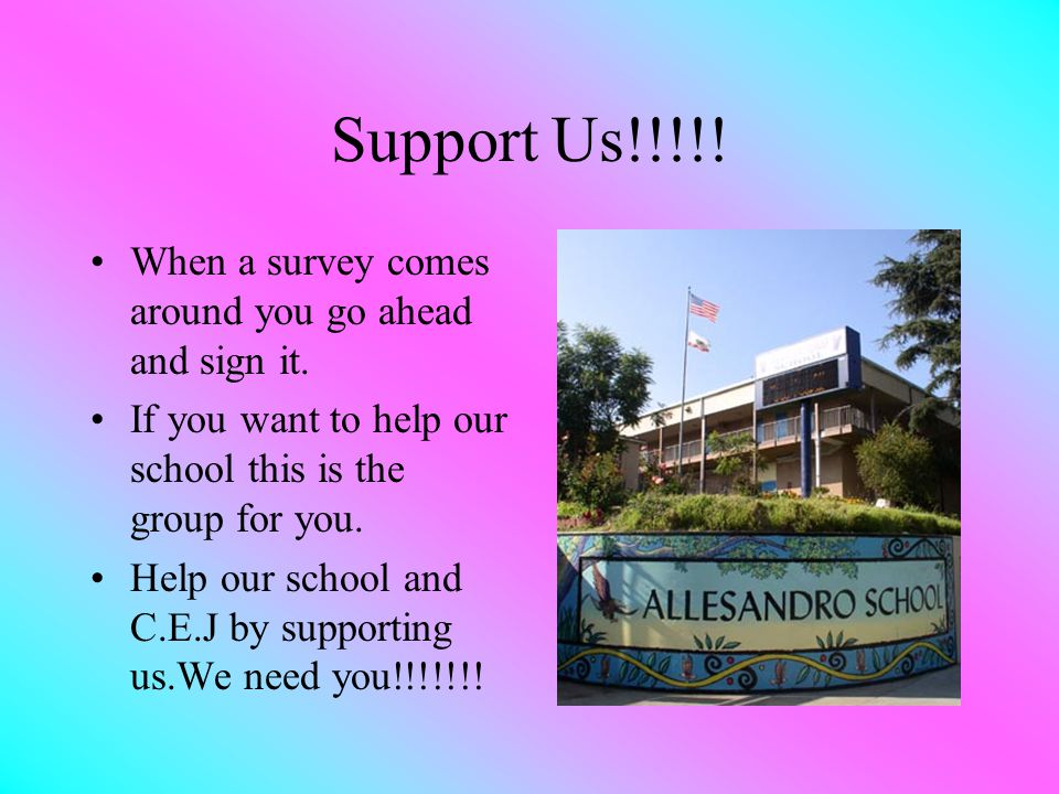 Support Us!!!!.When a survey comes around you go ahead and sign it.