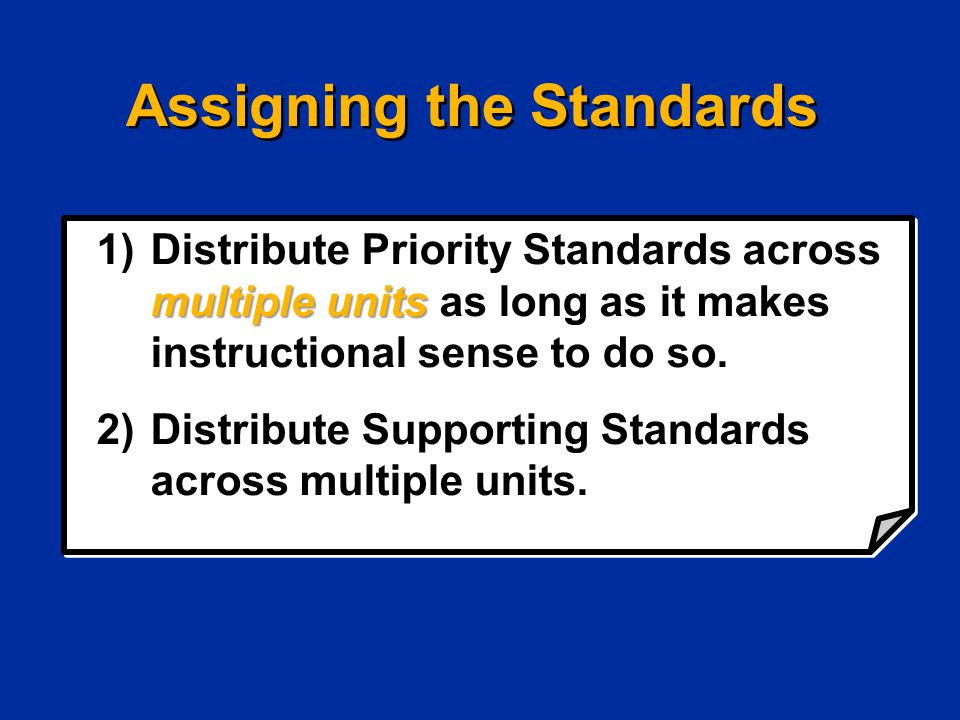 Assigning the Standards multiple units 1)Distribute Priority Standards across multiple units as long as it makes instructional sense to do so. 2)Distr
