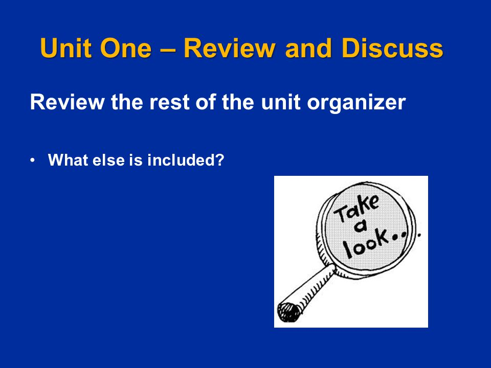 Unit One – Review and Discuss Review the rest of the unit organizer What else is included?