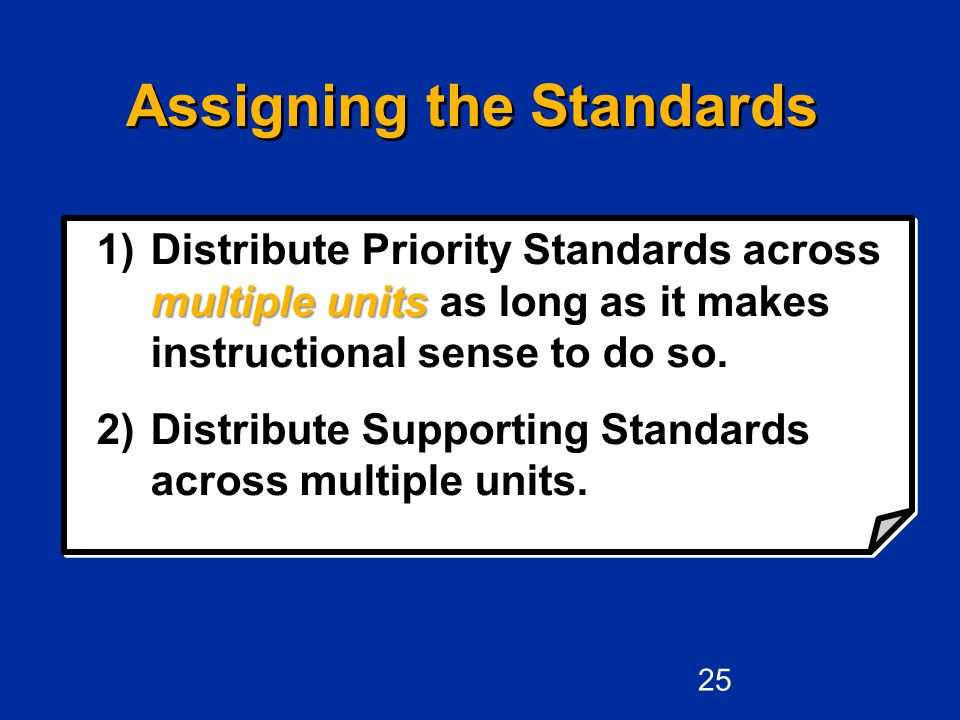 Assigning the Standards multiple units 1)Distribute Priority Standards across multiple units as long as it makes instructional sense to do so.