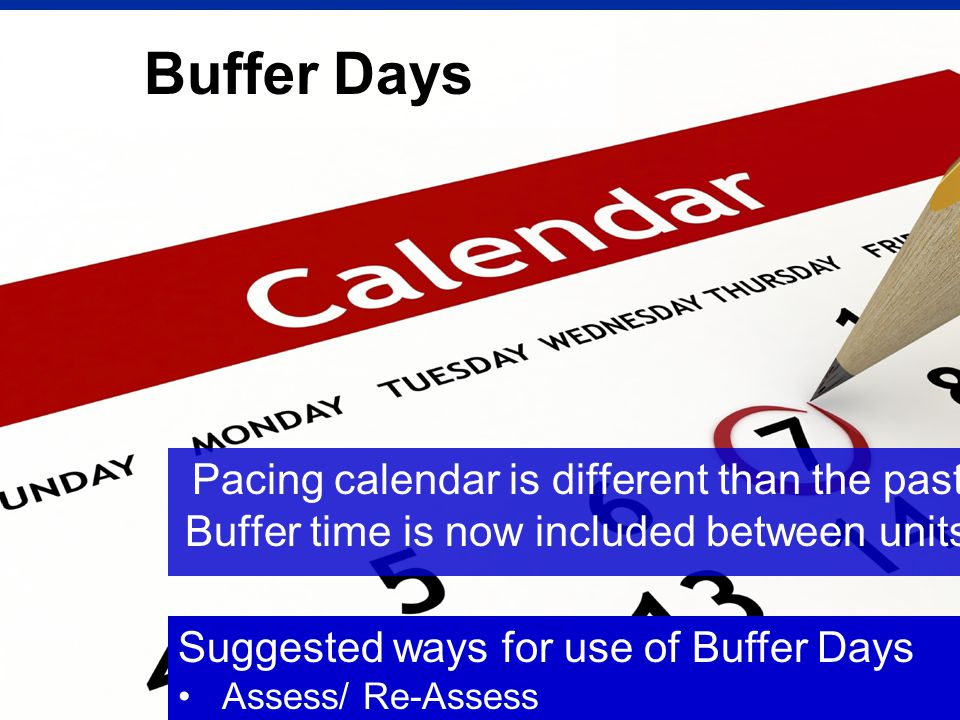 Buffer Days Pacing calendar is different than the past.