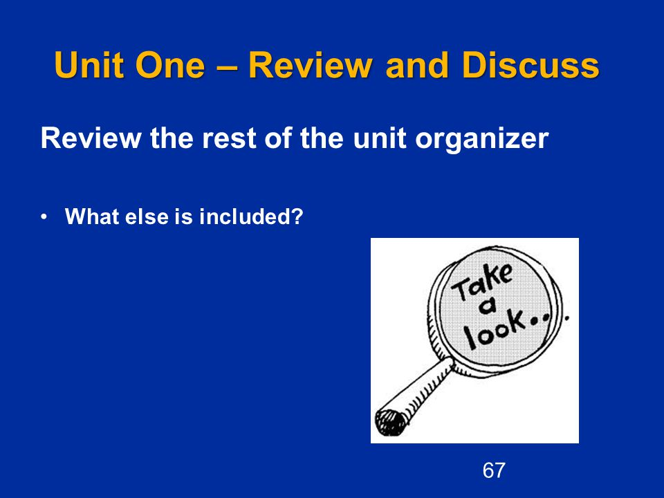 Unit One – Review and Discuss Review the rest of the unit organizer What else is included? 67