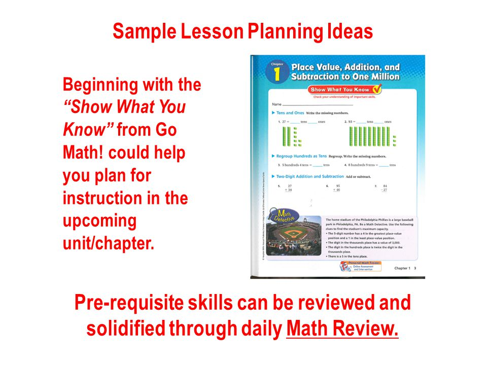 Sample Lesson Planning Ideas Beginning with the Show What You Know from Go Math.