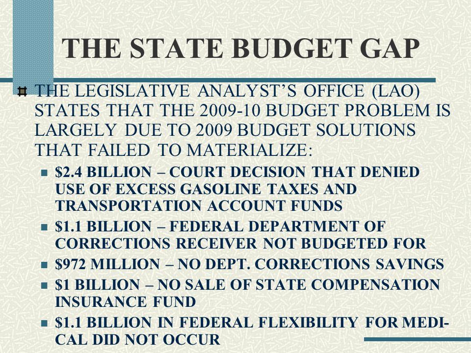 THE STATE BUDGET GAP THE LEGISLATIVE ANALYST'S OFFICE (LAO) STATES THAT THE 2009-10 BUDGET PROBLEM IS LARGELY DUE TO 2009 BUDGET SOLUTIONS THAT FAILED TO MATERIALIZE: $2.4 BILLION – COURT DECISION THAT DENIED USE OF EXCESS GASOLINE TAXES AND TRANSPORTATION ACCOUNT FUNDS $1.1 BILLION – FEDERAL DEPARTMENT OF CORRECTIONS RECEIVER NOT BUDGETED FOR $972 MILLION – NO DEPT.