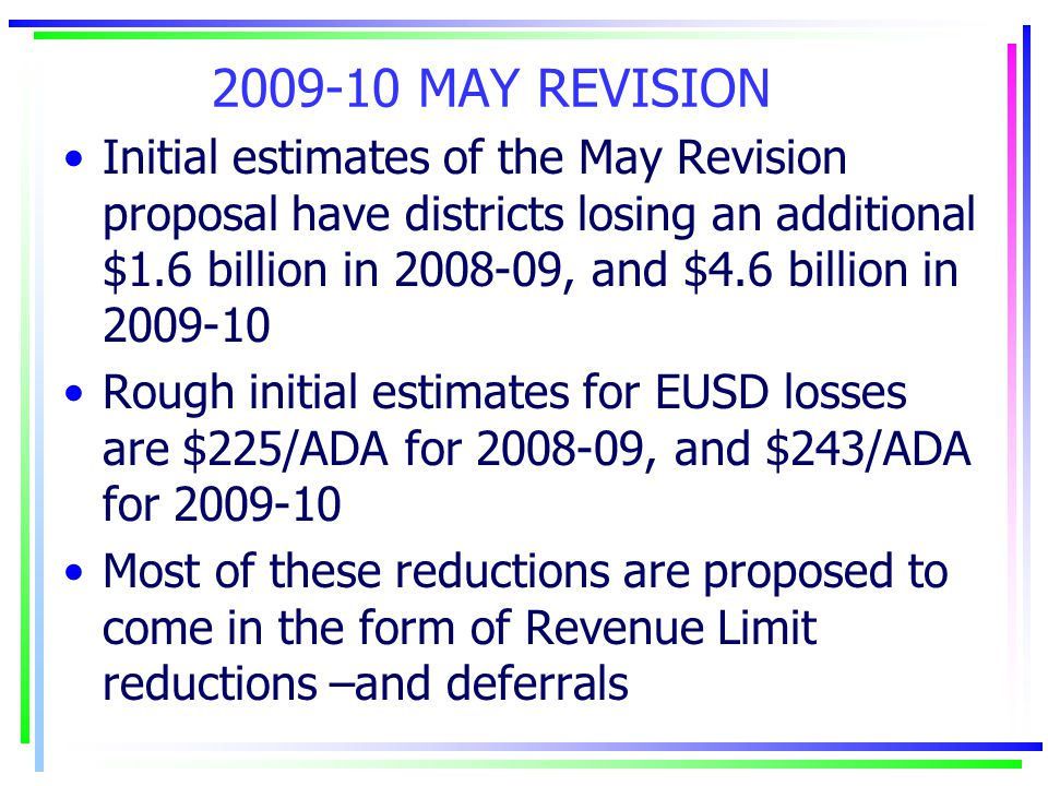 2009-10 MAY REVISION Initial estimates of the May Revision proposal have districts losing an additional $1.6 billion in 2008-09, and $4.6 billion in 2009-10 Rough initial estimates for EUSD losses are $225/ADA for 2008-09, and $243/ADA for 2009-10 Most of these reductions are proposed to come in the form of Revenue Limit reductions –and deferrals