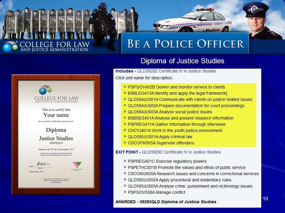 10 Diploma of Justice Studies