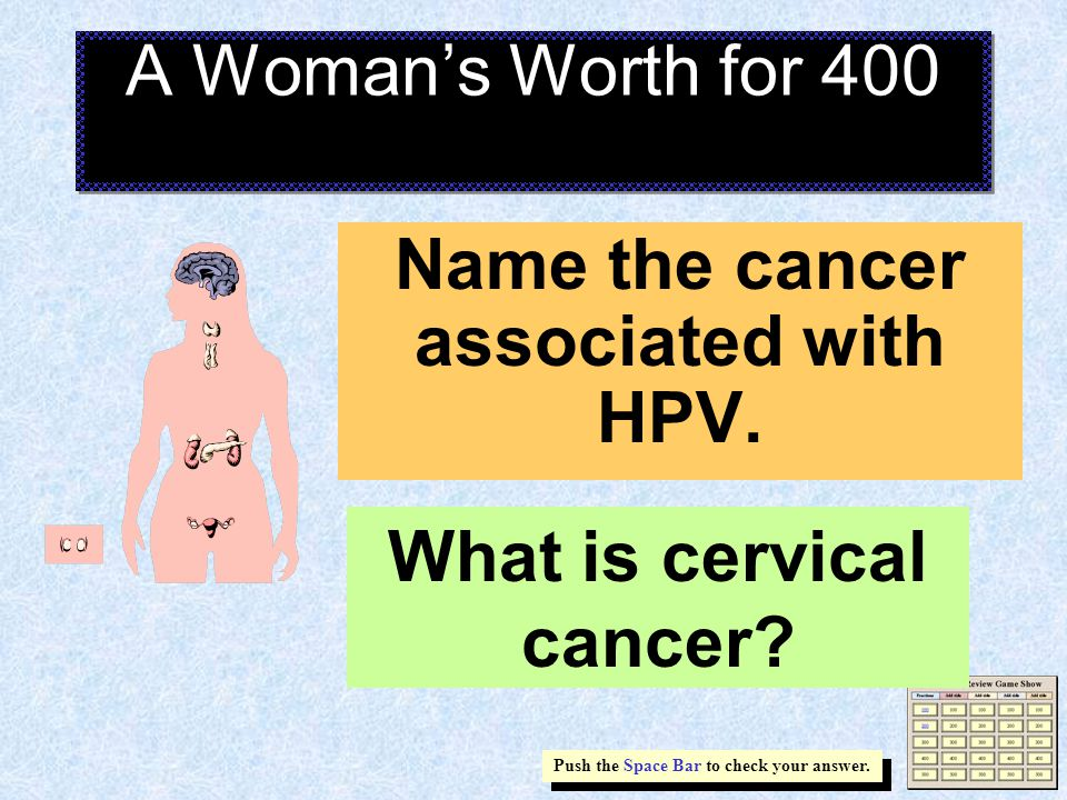 A Woman's Worth for 400 Name the cancer associated with HPV.