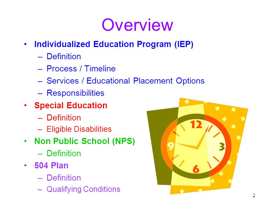 13 Individualized Education Program (IEP) Sample Meeting Agenda: (1) Summary of Parent/Student Rights History of Case Parent/Student Share Concerns Reports of Individual Assessments by Examiners or Designees Eligibility for Special Education Not Applicable for Regular Annual Reviews Written Statement if Student Does Not Qualify