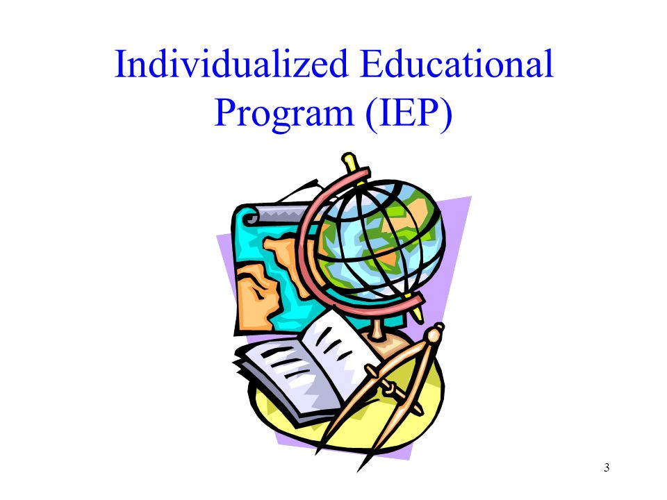 4 Individualized Education Program (IEP) Definition A written education plan for a school-aged child with disabilities developed by a team of professional and the child's parent(s); it is reviewed and updated yearly and describes how the child is presently doing, what the child's learning needs are, and what services the child will need.