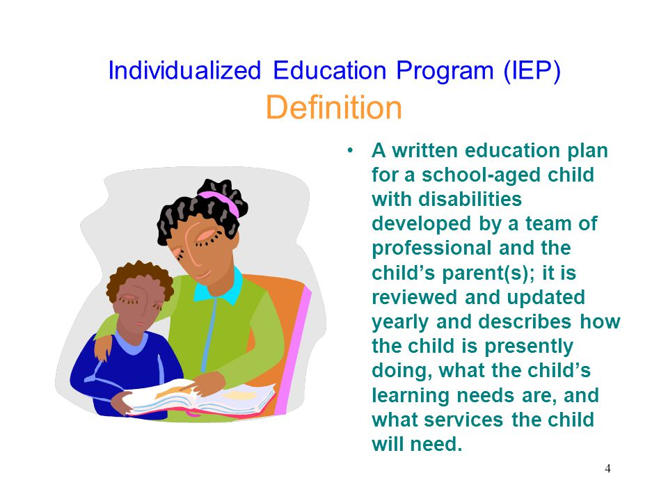 15 Individualized Education Program (IEP) Information Contained in an IEP: Present level of performance Statement about child's disability Annual goals and objectives, including measurement standards Statements defining services to be provided How often, when and in what setting services will take place How child will participate in general education activities with non-disabled peers Plan to address any behavioral issues