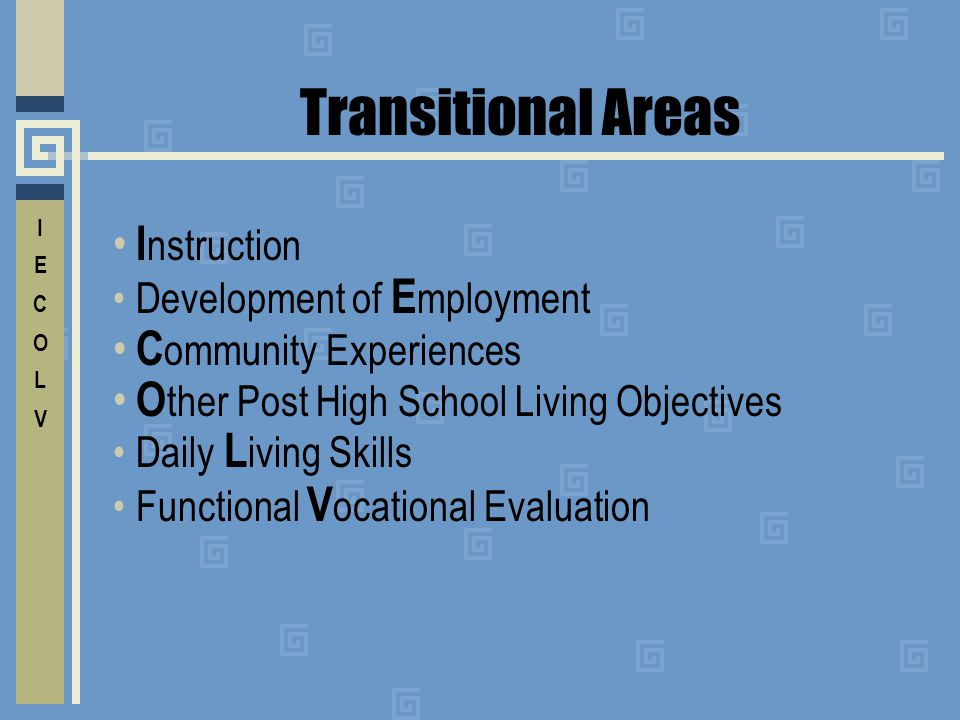 Transitional Areas O O ther Post High School Living Objectives C C ommunity Experiences E Development of E mployment I I nstruction V Functional V ocational Evaluation L Daily L iving Skills
