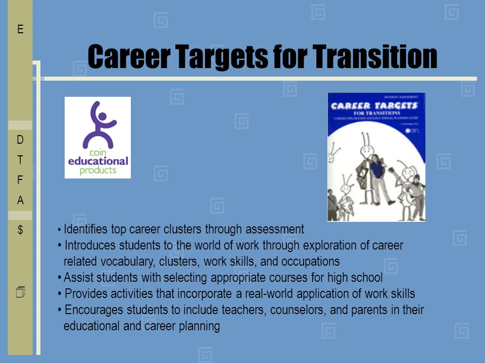 Career Targets for Transition Identifies top career clusters through assessment Introduces students to the world of work through exploration of career related vocabulary, clusters, work skills, and occupations Assist students with selecting appropriate courses for high school Provides activities that incorporate a real-world application of work skills Encourages students to include teachers, counselors, and parents in their educational and career planning I E C O L V D T F A $ Free    