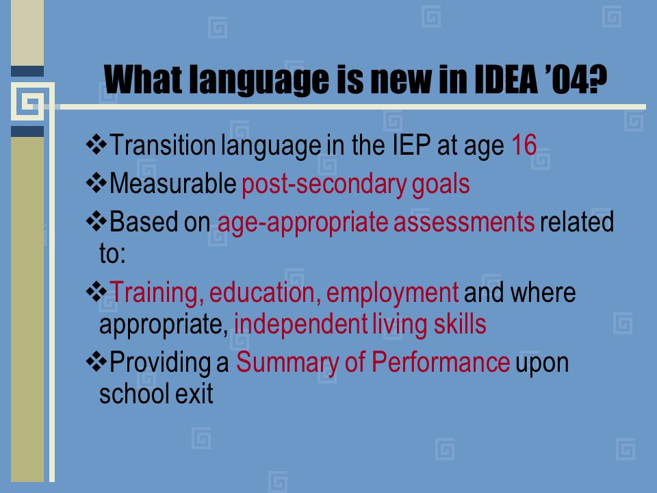 Indicators will measure Transition Services Language and Outcomes U.S.