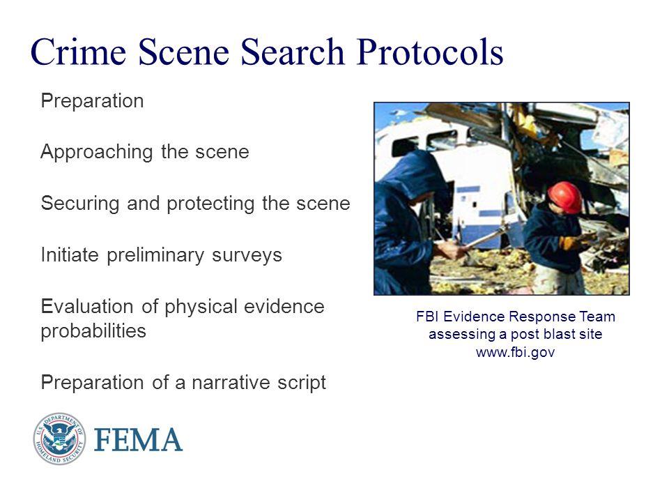 Presenter's Name June 17, 2003 Crime Scene Search Protocols Preparation Approaching the scene Securing and protecting the scene Initiate preliminary s