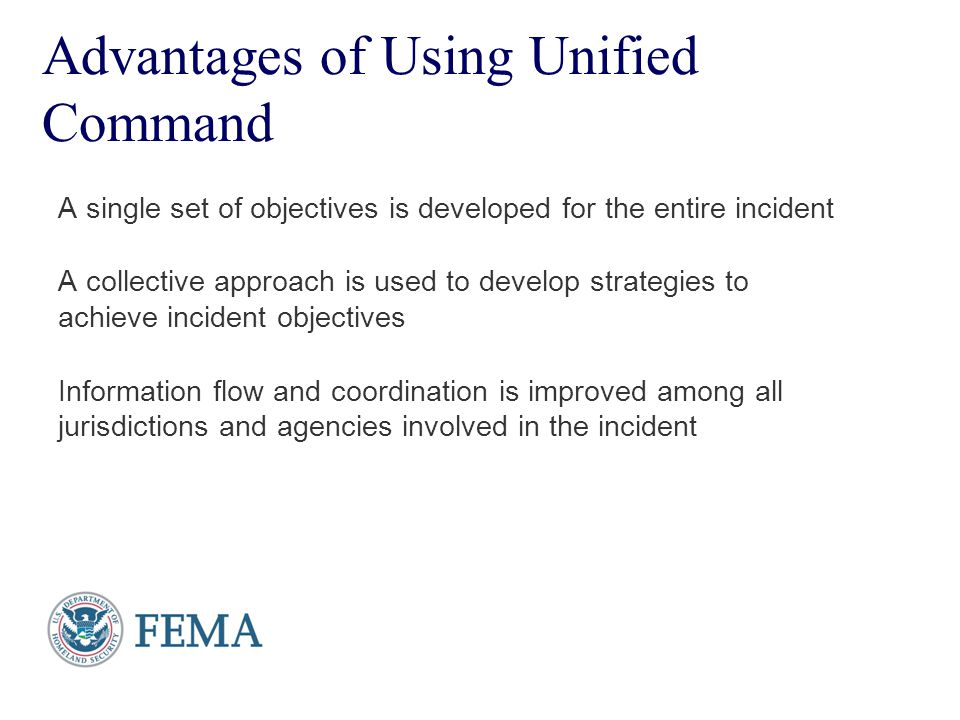 Presenter's Name June 17, 2003 Advantages of Using Unified Command A single set of objectives is developed for the entire incident A collective approa