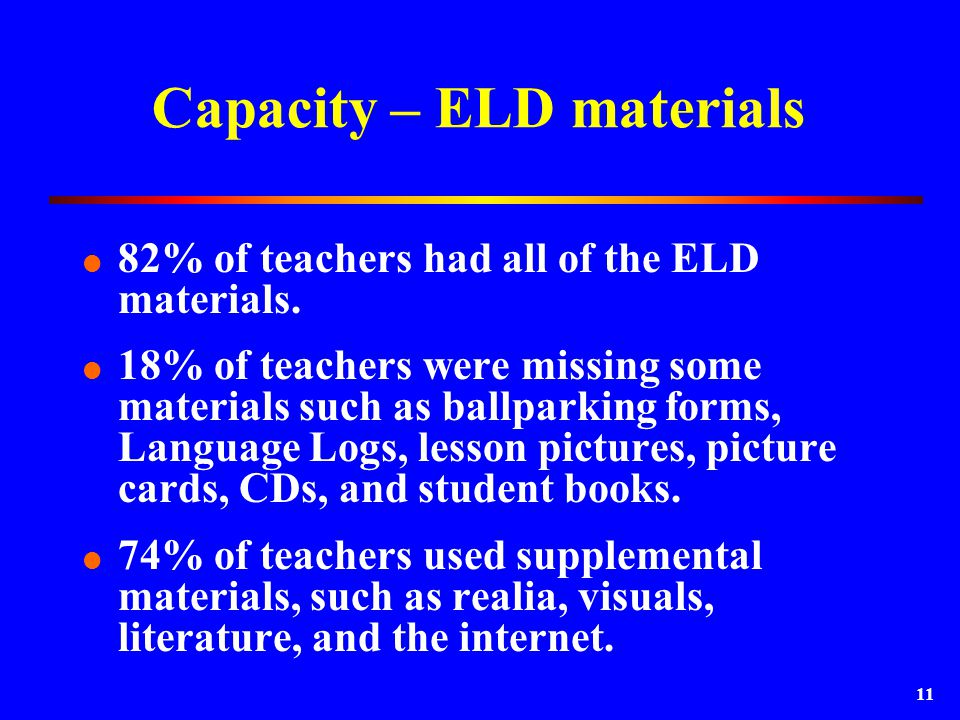 11 Capacity – ELD materials  82% of teachers had all of the ELD materials.