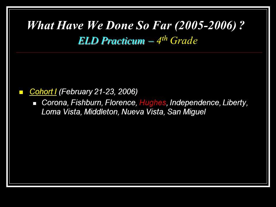 ELD Practicum – What Have We Done So Far (2005-2006) .