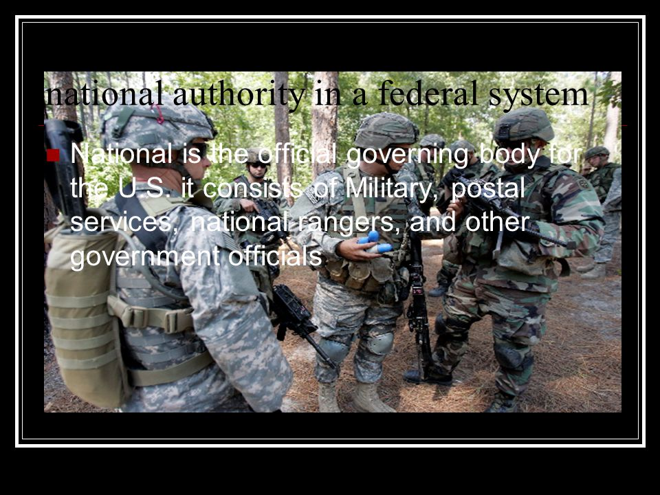 national authority in a federal system National is the official governing body for the U.S.