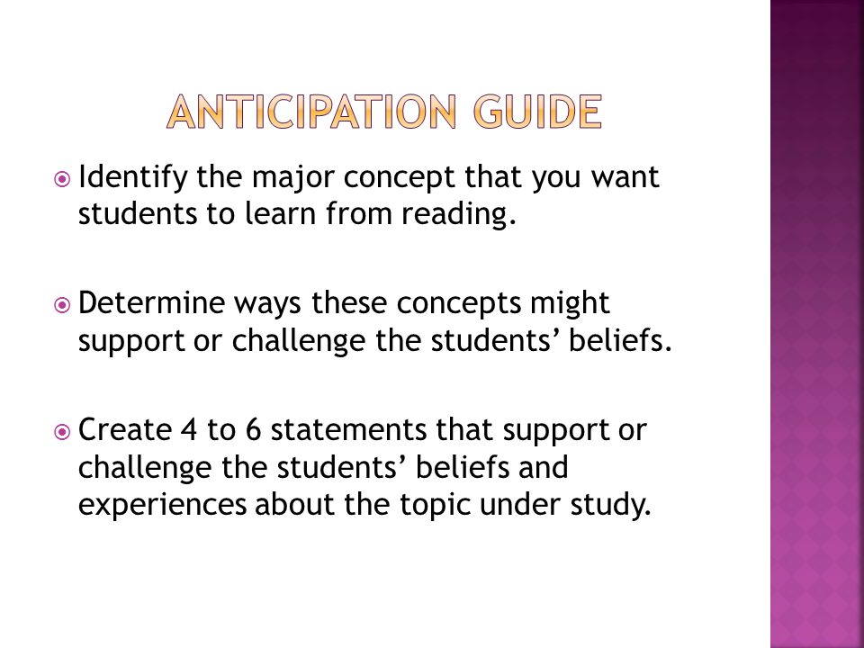  Identify the major concept that you want students to learn from reading.
