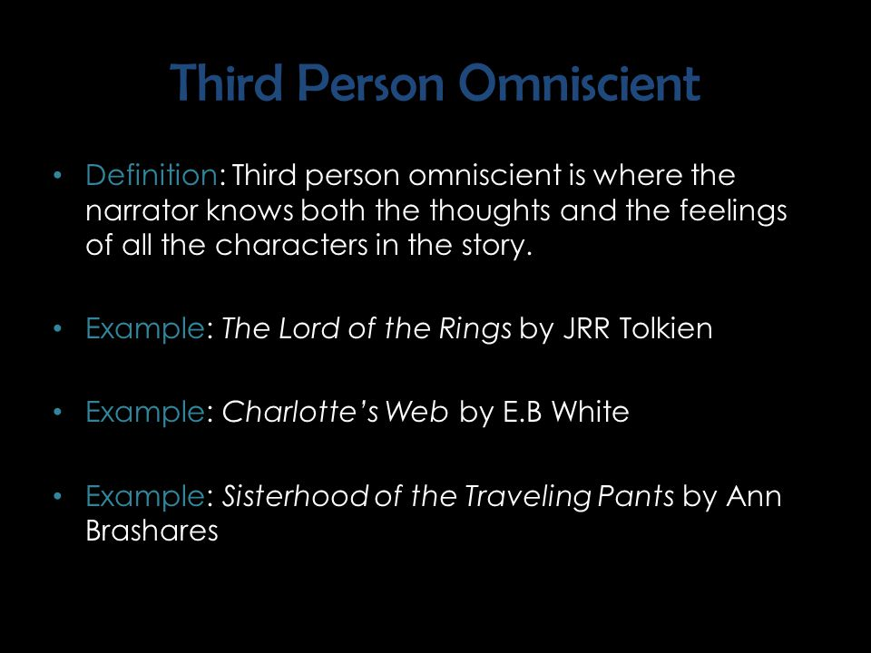 "Third Person Definition: Third person is written in the pronouns ""he"", ""she"", or ""it"". Within third person there are two subdivisions to be aware of…"