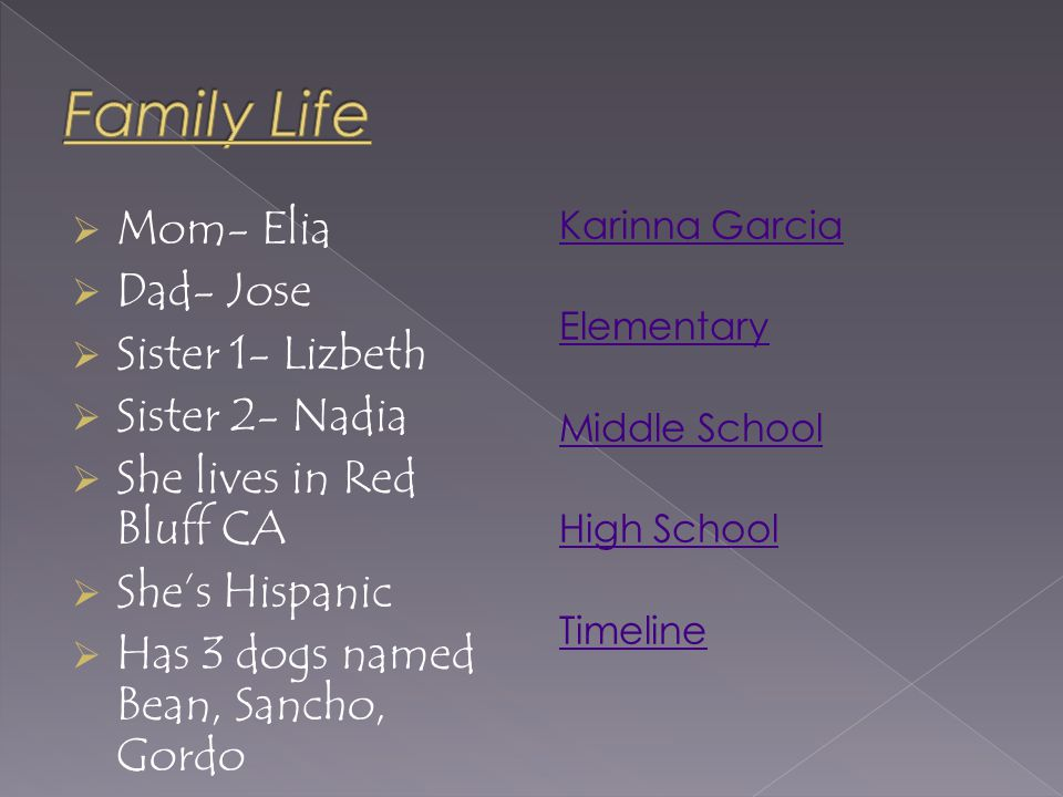  Mom- Elia  Dad- Jose  Sister 1- Lizbeth  Sister 2- Nadia  She lives in Red Bluff CA  She's Hispanic  Has 3 dogs named Bean, Sancho, Gordo Karinna Garcia Elementary Middle School High School Timeline