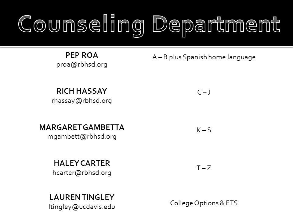 PEP ROA proa@rbhsd.org RICH HASSAY rhassay@rbhsd.org MARGARET GAMBETTA mgambett@rbhsd.org HALEY CARTER hcarter@rbhsd.org LAUREN TINGLEY ltingley@ucdavis.edu A – B plus Spanish home language C – J K – S T – Z College Options & ETS