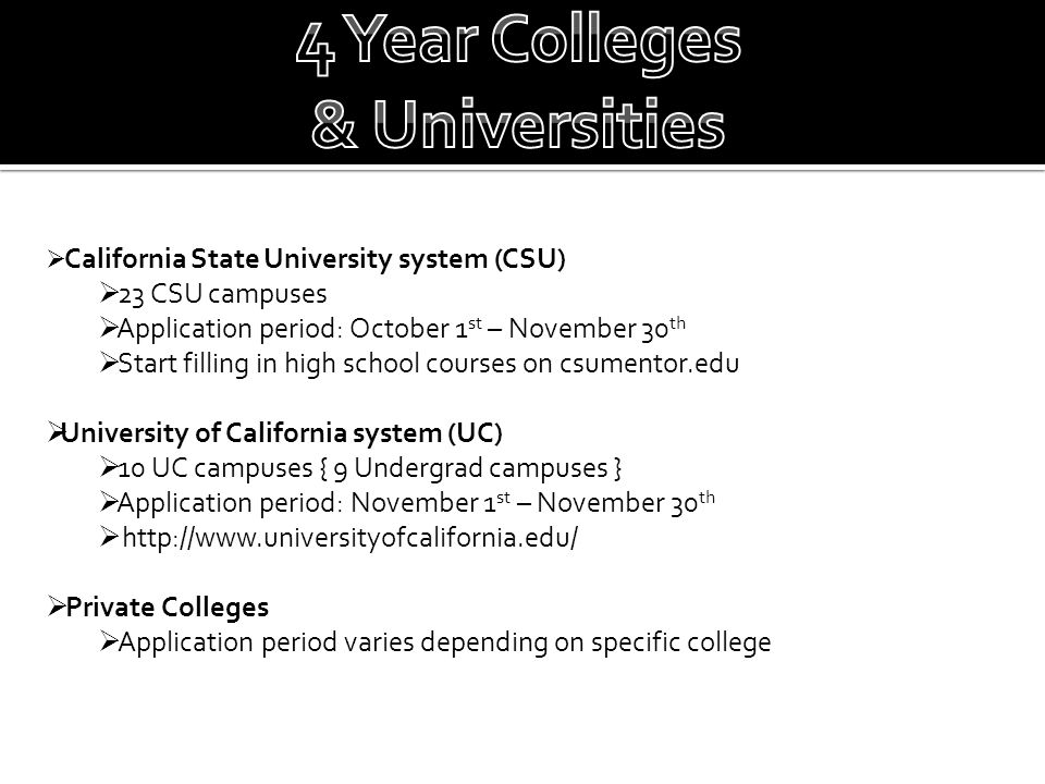  California State University system (CSU)  23 CSU campuses  Application period: October 1 st – November 30 th  Start filling in high school course