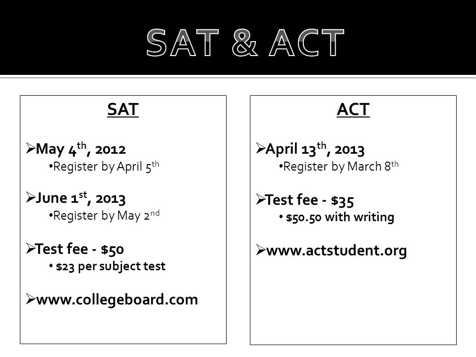 SAT  May 4 th, 2012 Register by April 5 th  June 1 st, 2013 Register by May 2 nd  Test fee - $50 $23 per subject test  www.collegeboard.com ACT  April 13 th, 2013 Register by March 8 th  Test fee - $35 $50.50 with writing  www.actstudent.org