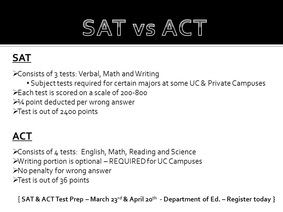 SAT  Consists of 3 tests: Verbal, Math and Writing Subject tests required for certain majors at some UC & Private Campuses  Each test is scored on a
