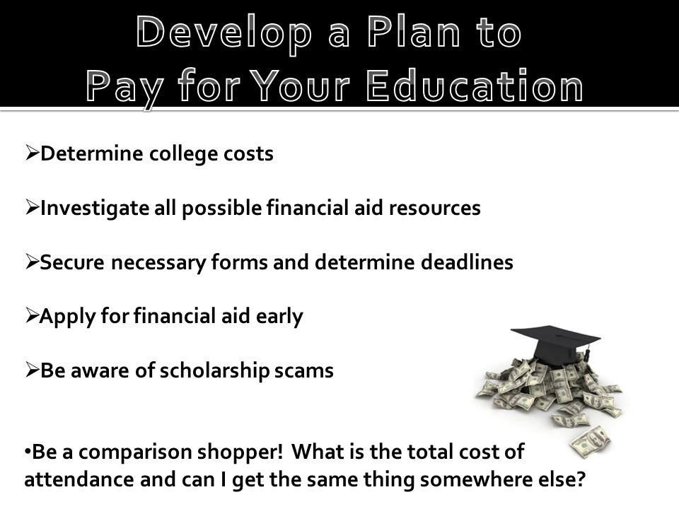  Determine college costs  Investigate all possible financial aid resources  Secure necessary forms and determine deadlines  Apply for financial aid early  Be aware of scholarship scams Be a comparison shopper.