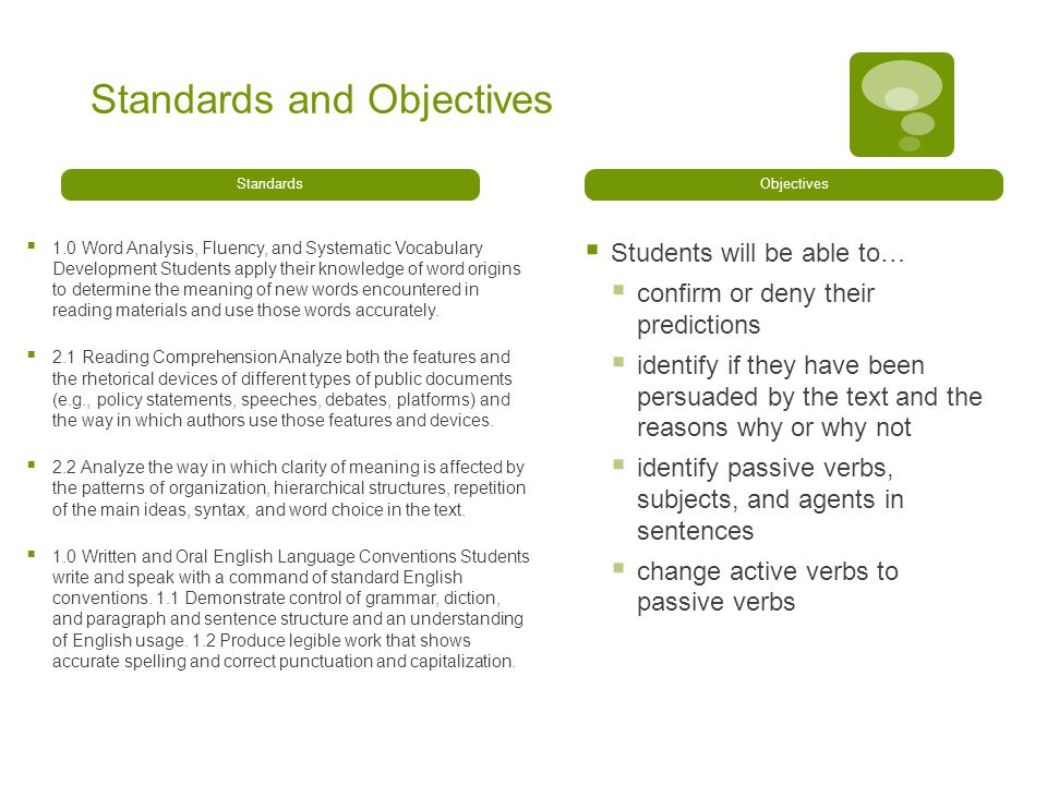 Standards and Objectives Standards  1.0 Word Analysis, Fluency, and Systematic Vocabulary Development Students apply their knowledge of word origins to determine the meaning of new words encountered in reading materials and use those words accurately.