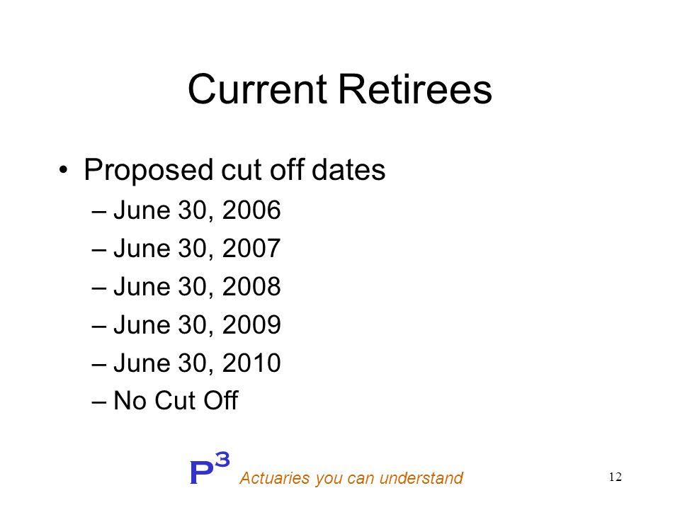 P 3 Actuaries you can understand 12 Current Retirees Proposed cut off dates –June 30, 2006 –June 30, 2007 –June 30, 2008 –June 30, 2009 –June 30, 2010 –No Cut Off
