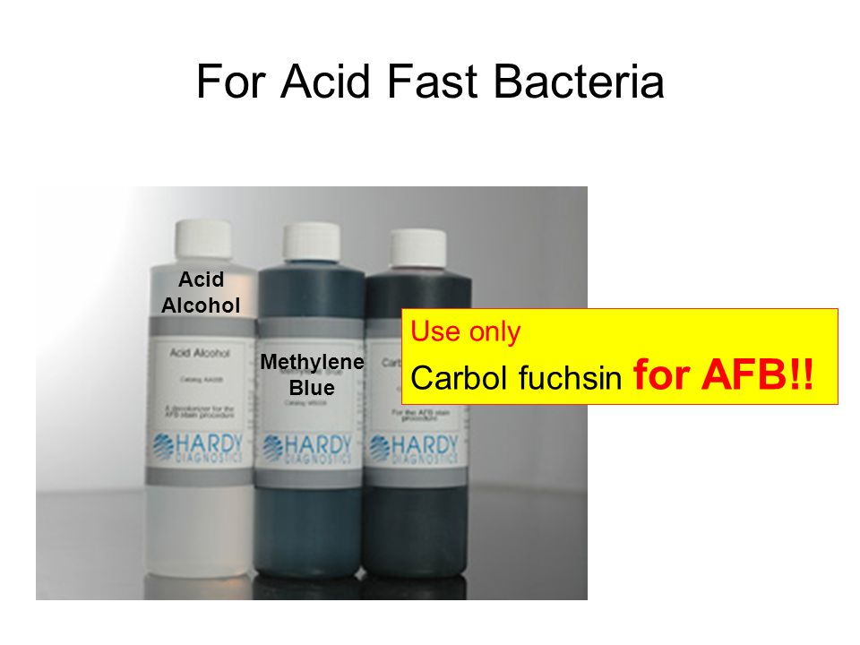 For Acid Fast Bacteria Use only Carbol fuchsin for AFB!! Acid Alcohol Methylene Blue