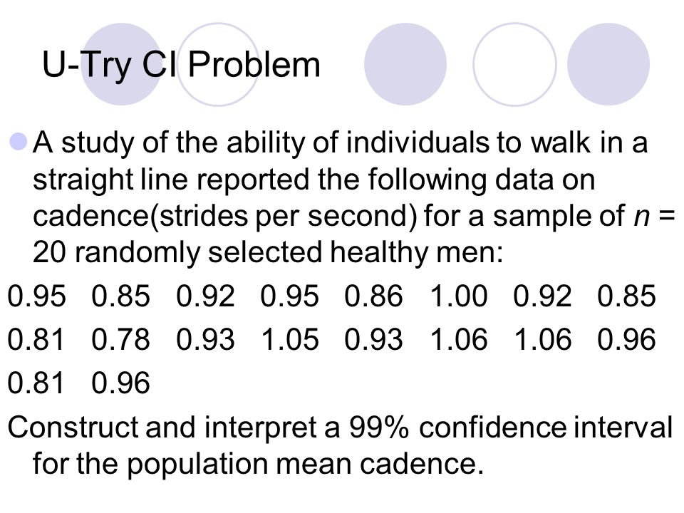 U-Try CI Problem A study of the ability of individuals to walk in a straight line reported the following data on cadence(strides per second) for a sam