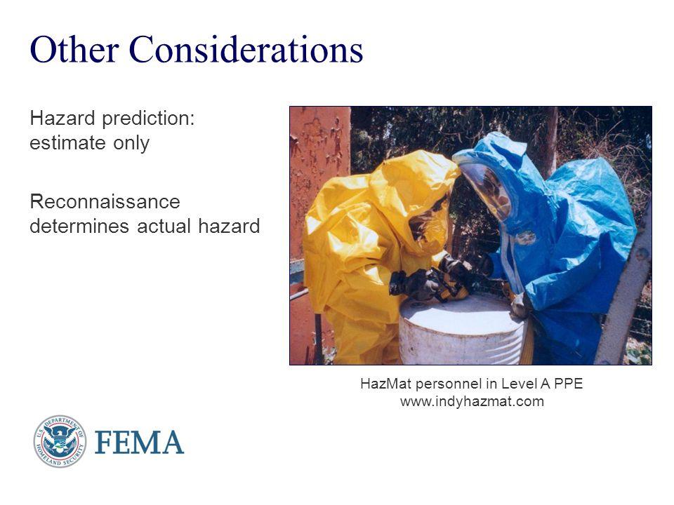 Presenter's Name June 17, 2003 Other Considerations Hazard prediction: estimate only Reconnaissance determines actual hazard HazMat personnel in Level