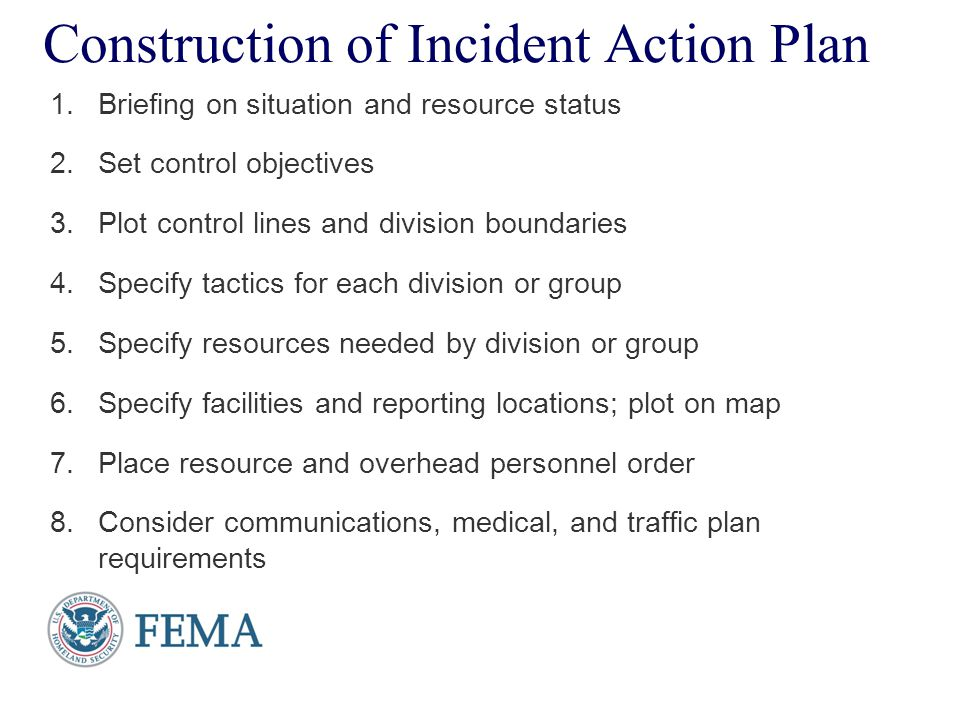 Presenter's Name June 17, 2003 Construction of Incident Action Plan 1.Briefing on situation and resource status 2.Set control objectives 3.Plot contro