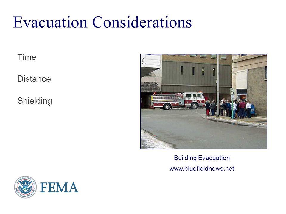 Presenter's Name June 17, 2003 Evacuation Considerations Time Distance Shielding Building Evacuation www.bluefieldnews.net