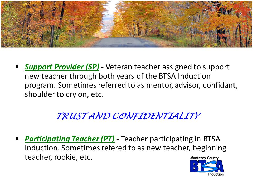 SSupport Provider (SP) - Veteran teacher assigned to support new teacher through both years of the BTSA Induction program. Sometimes referred to as