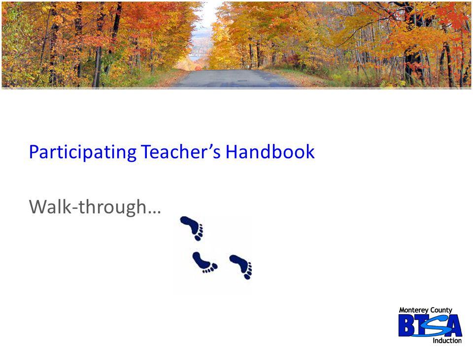 Participating Teacher's Handbook Walk-through…
