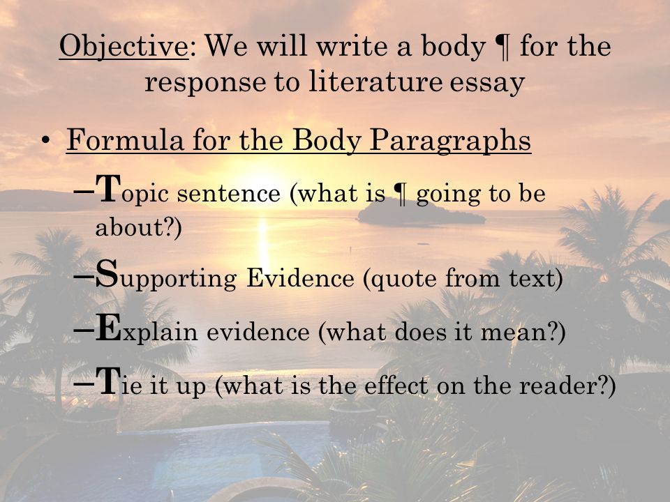 Objective: We will write a conclusion ¶ for the response to literature essay Example conclusion ¶ Throughout the poem, Mora uses various literary devices to depict the speaker's children as preoccupied with their appearance.