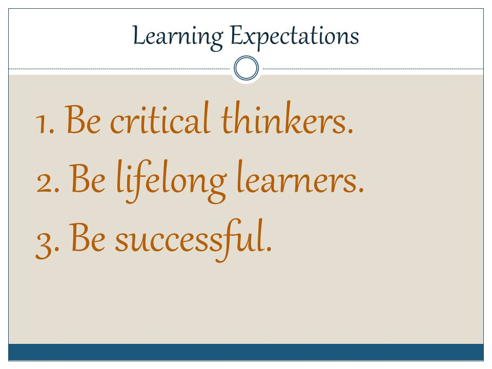 Behavior Expectations 1. Be prompt. 2. Be prepared. 3. Be polite. 4. Be positive.