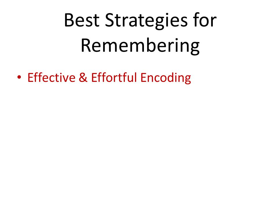 Best Strategies for Remembering Effective & Effortful Encoding