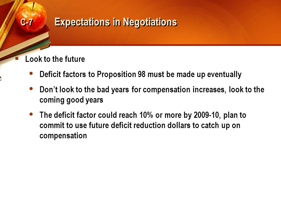 Expectations in Negotiations  Look to the future  Deficit factors to Proposition 98 must be made up eventually  Don't look to the bad years for com
